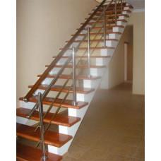 Комбинированное ограждение лестницы и проема: металл и деревянные перила